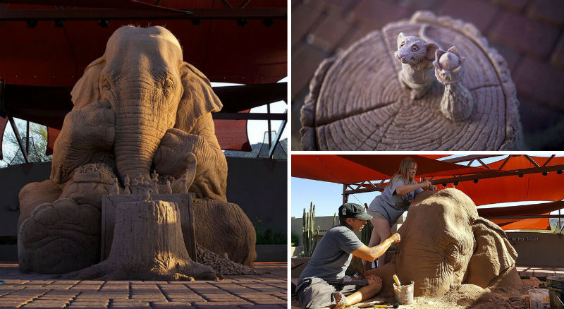 elehant sand sculpture feat
