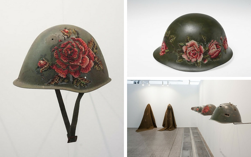 floral in war helmets feat