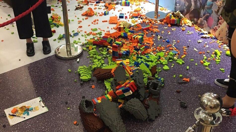 kid breaks 15000 lego sculpture