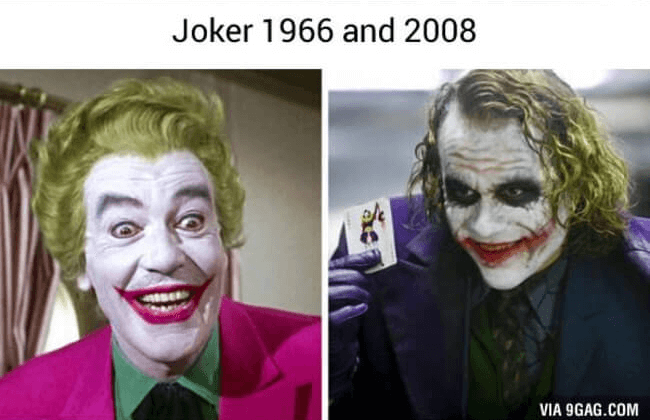 superheroes then and now - The Joker (1)