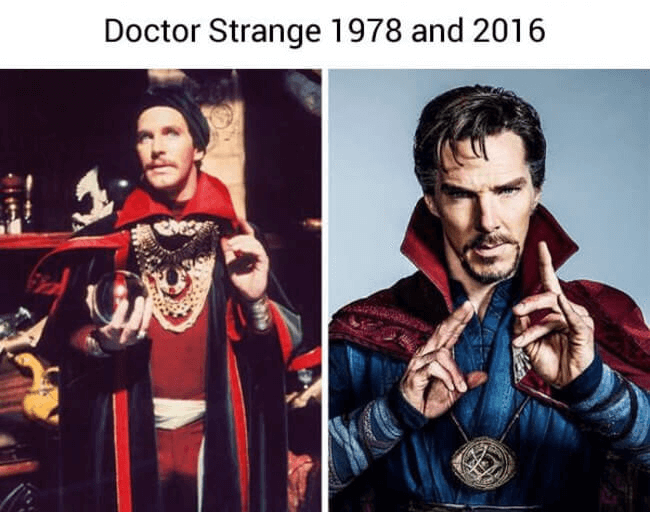 superheroes then and now - doctor strange (1)