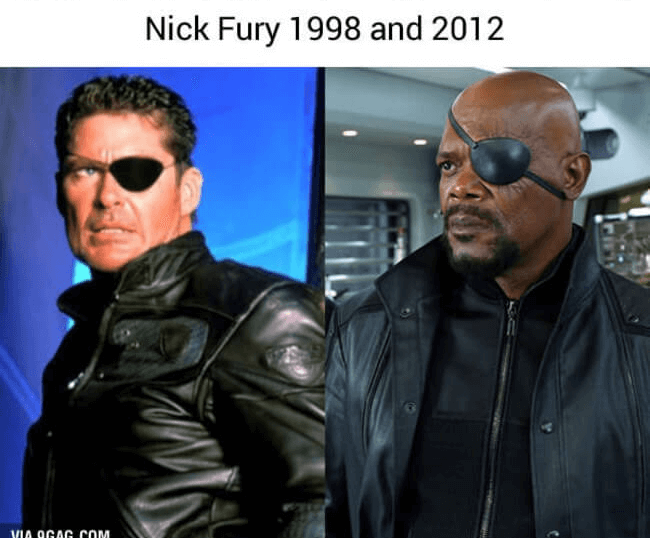 superheroes then and today - nick fury (1)