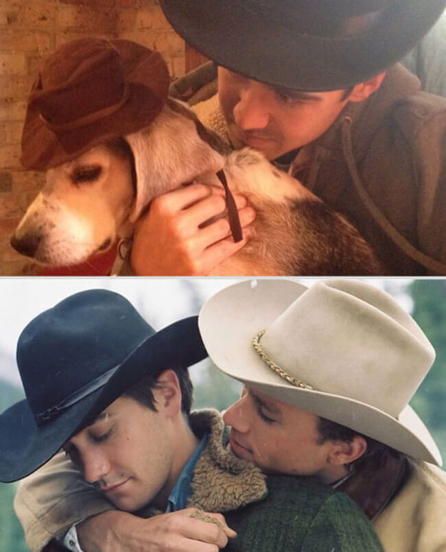 Guy Hilariously Recreates Famous Romantic Movie Scenes With Dog 3