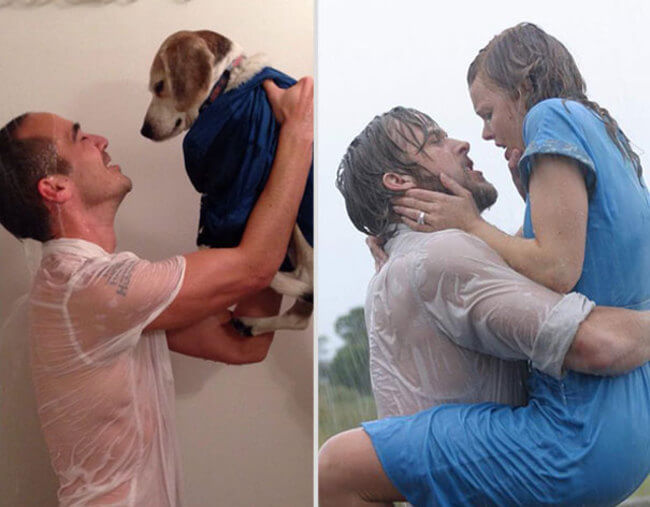 Famous Movie Scenes With His Dog 6