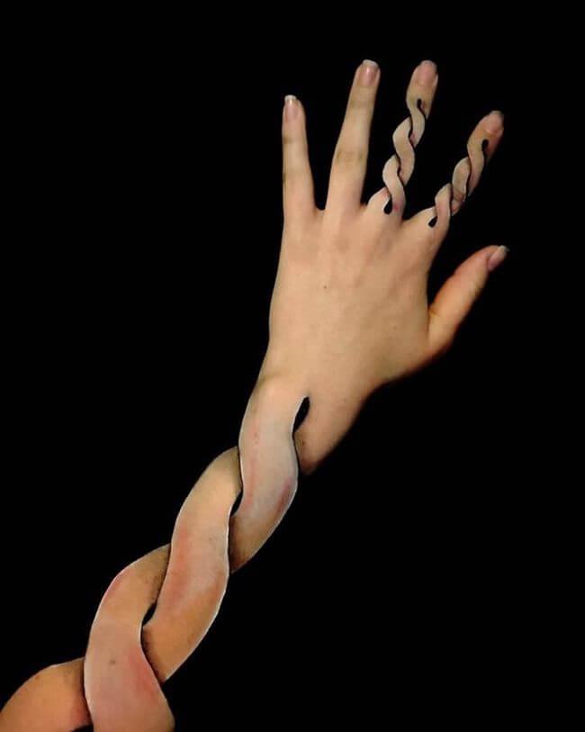 Lisha Simpson Body Art Arms Optical Illusions 1