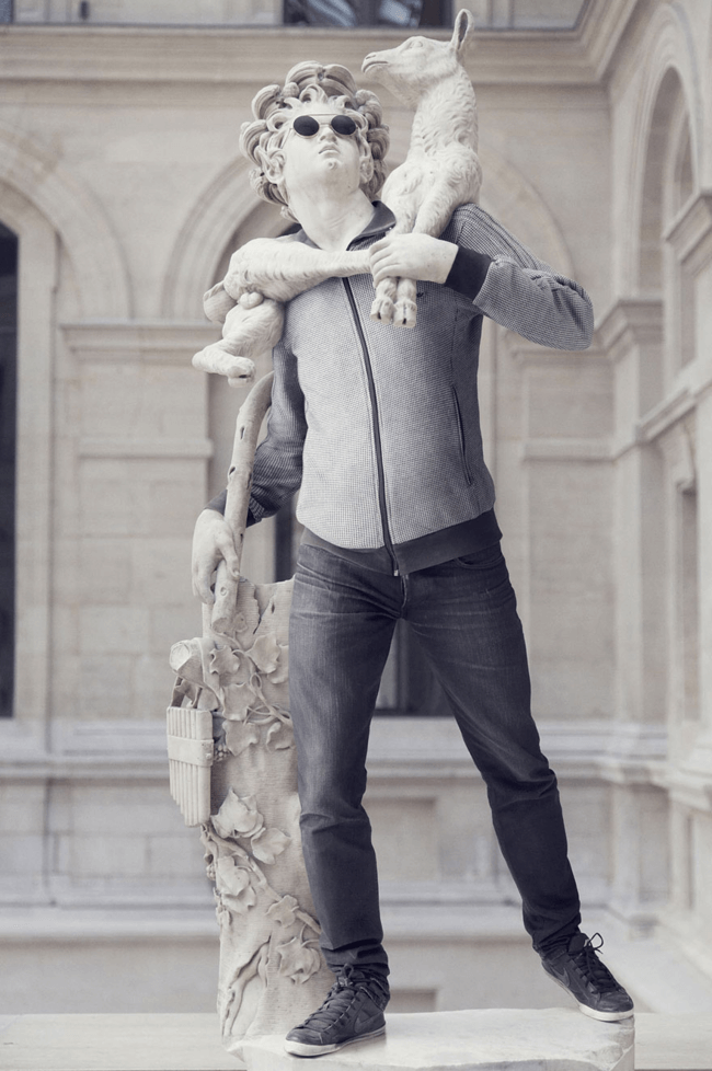 classical statues dressed in modern clothes 7