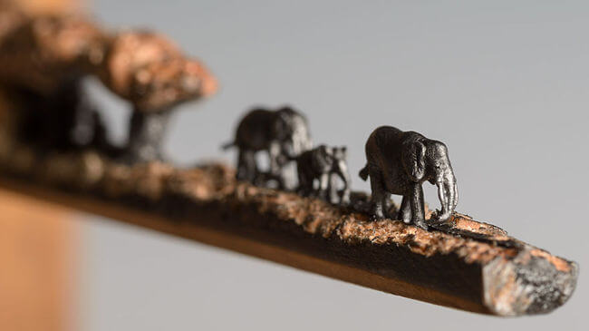 Elephants carved Into A Pencil 3