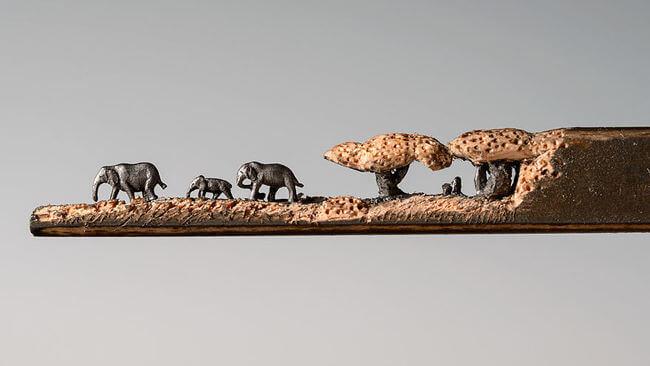 Elephants carved Into A Pencil 4