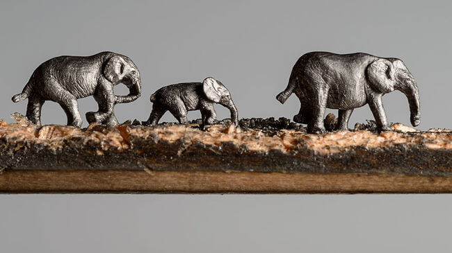 Elephants carved Into A Pencil 2