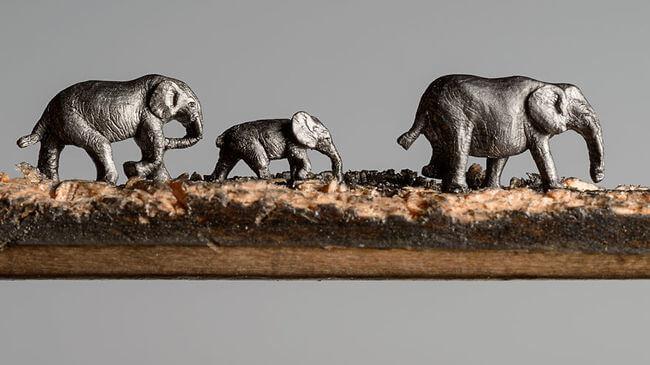 Elephants carved Into A Pencil 2