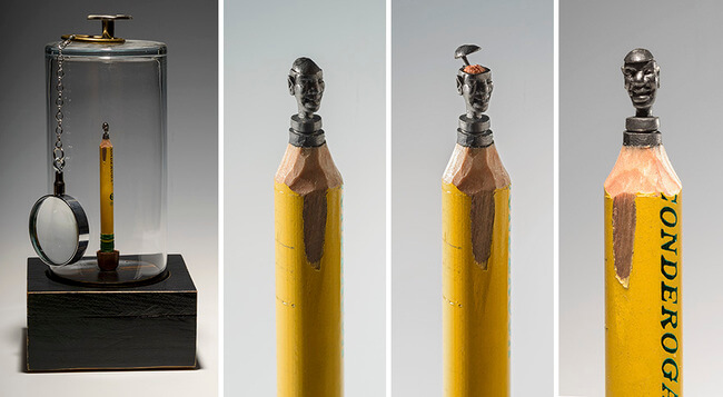 Elephants carved Into A Pencil 14