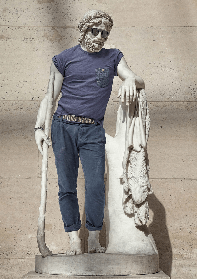 classical statues dressed in modern clothes 1