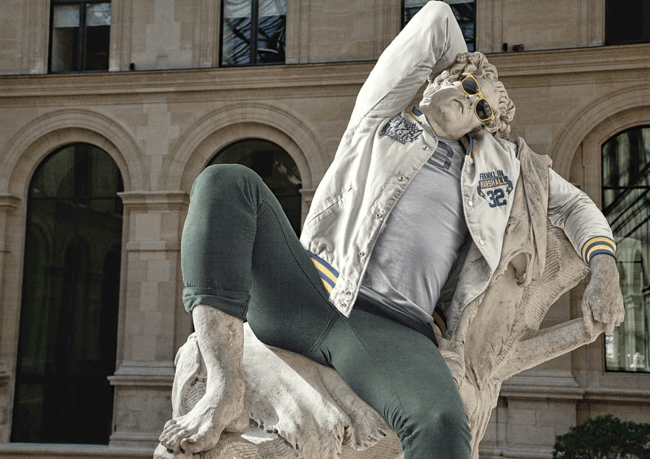 classical statues dressed in modern clothes 2
