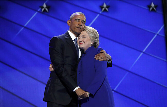Obama And Clinton Hug 1