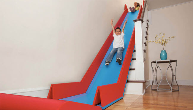 Meet SlideRider, The Foldable Staircase Slide You Can Place Over Your Stairs
