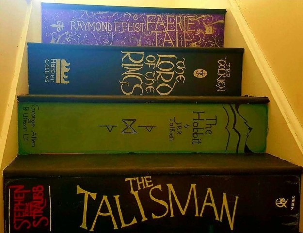 staircase painted like books 3