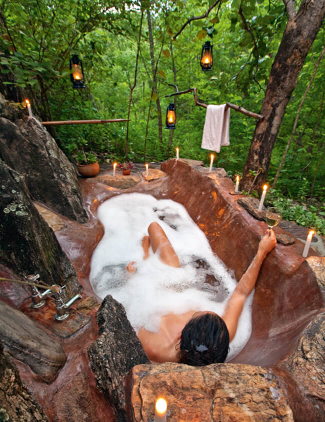 Unique Bathtubs #1 Bathing In The Middle Of The Forest