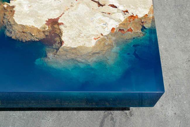 Stunning Stone And Resin Coffee Table Brings The Beauty Of