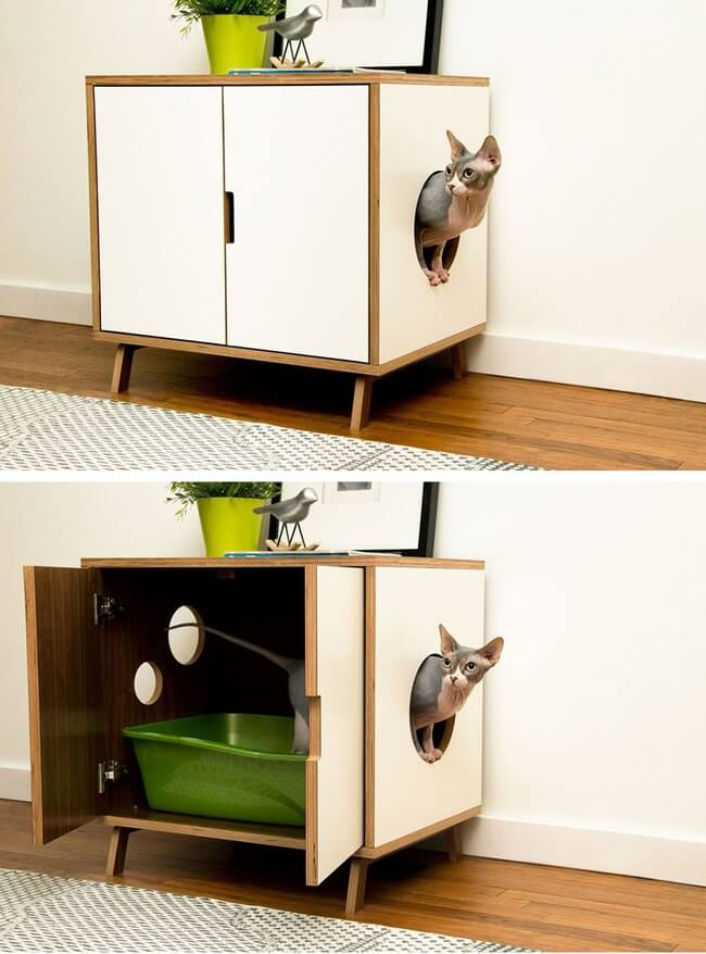 30 cat box furniture ideas to live in peace with your - Kitty litter furniture ideas ...