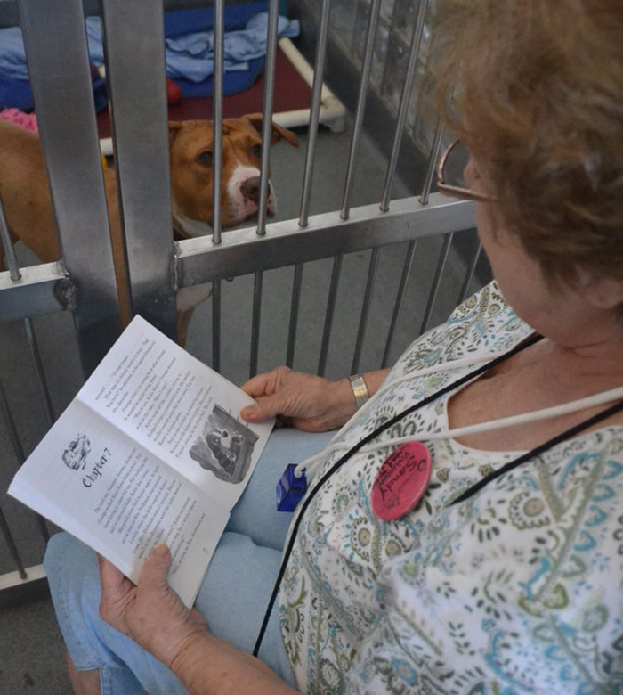 woman reads to dogs 2