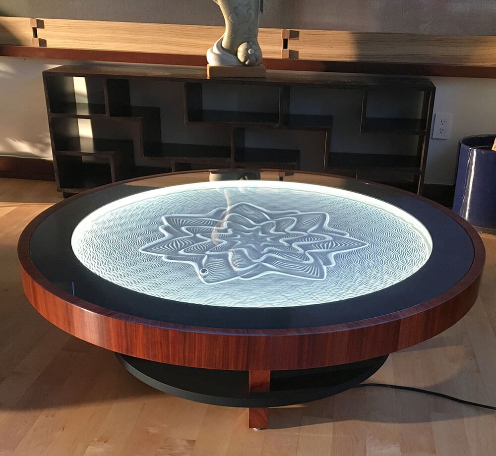 bruce shapiro creates mesmerizing kinetic sand drawings coffee tables. Black Bedroom Furniture Sets. Home Design Ideas