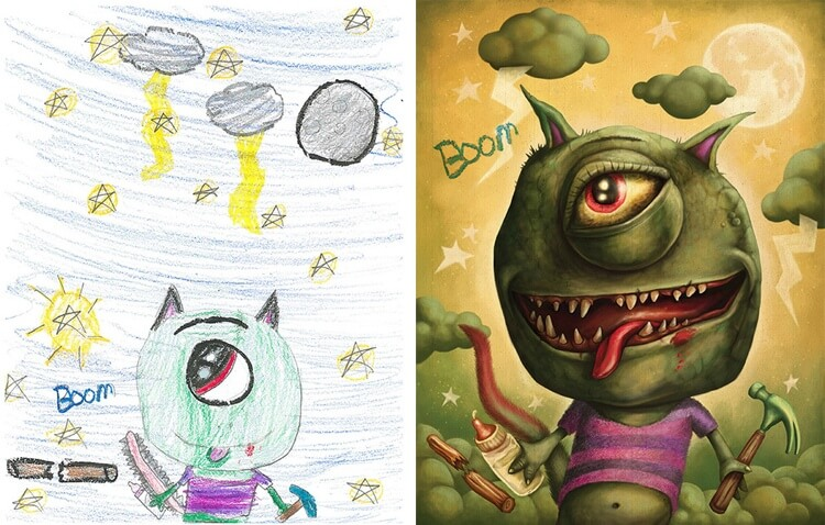 Artists Recreate Cool Drawings Of Monsters Done By ...