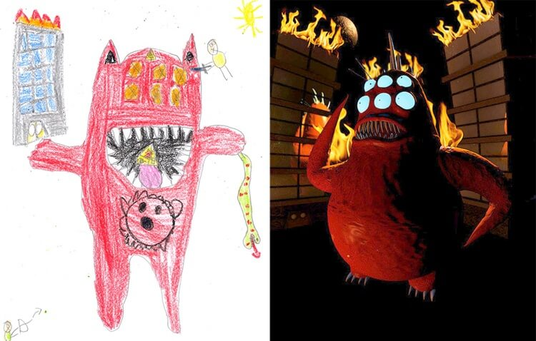 Artists Recreate Cool Drawings Of Monsters Done By