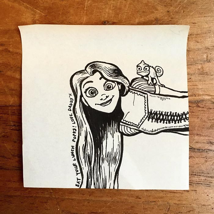 dad creates cool post it note art for his daughter every day for three years