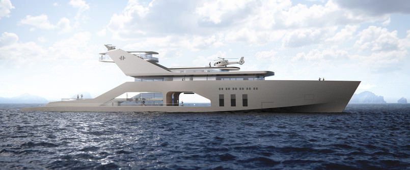 yacht with a private beach 2