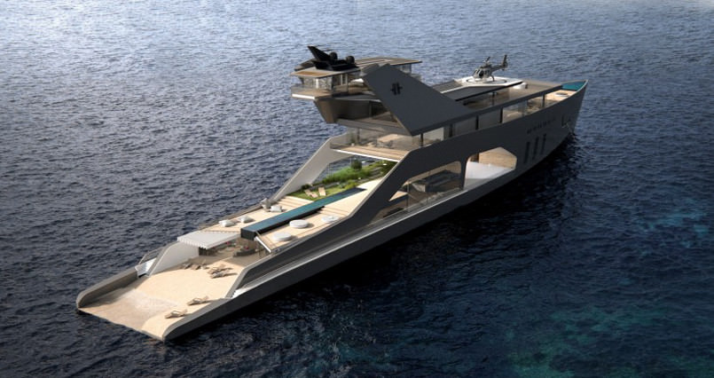 yacht with a private beach