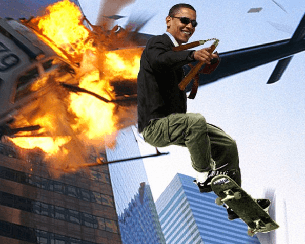 awesome pictures - obama riding a skateboard with nonchanko