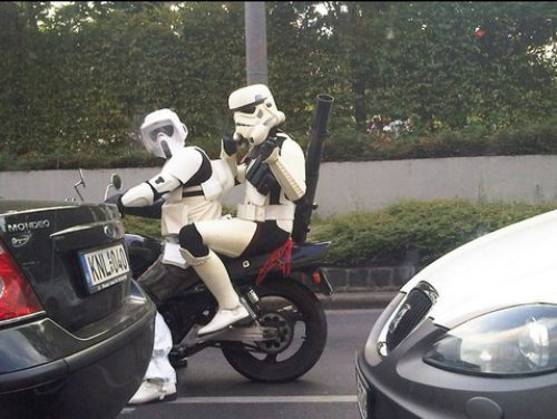 crazy pictures - stormtroopers riding a bike