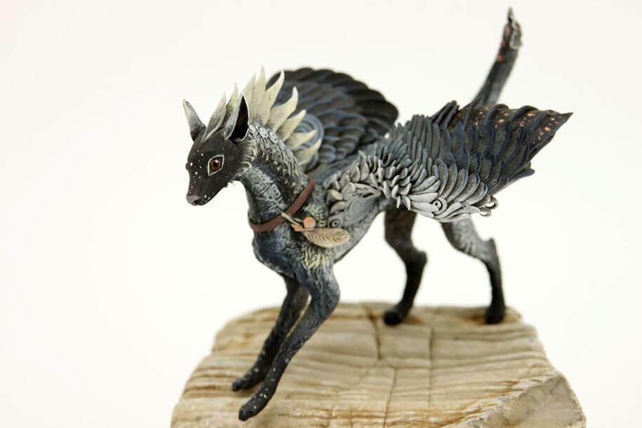 russian artist creates fantasy animals with velvet clay
