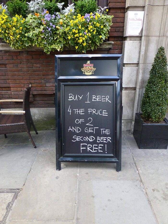 32 funny chalkboard signs from bars that will totally get you inside - Alternative uses for beer ten ingenious ideas ...