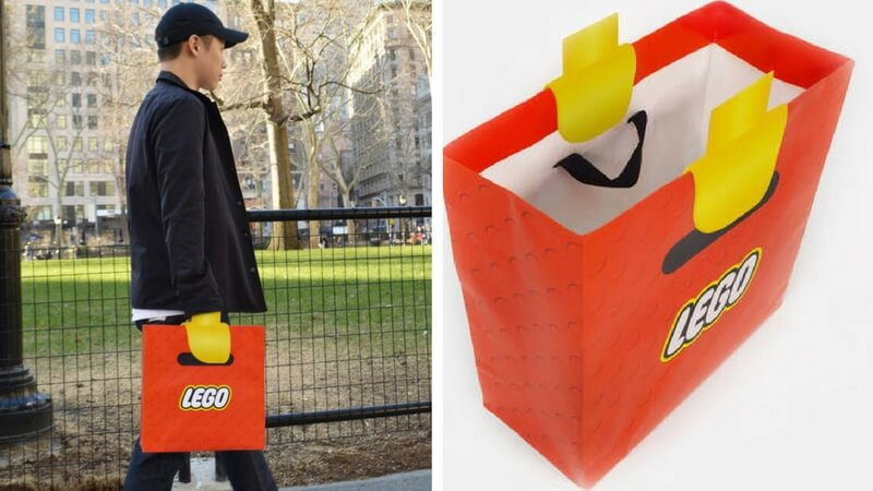 clever lego bag turns your hand into lego. Black Bedroom Furniture Sets. Home Design Ideas