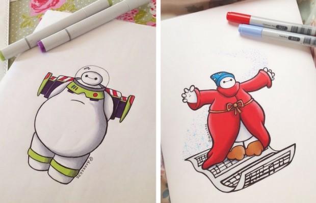 baymax reimagined in cute drawings of disney characters by demetria skye