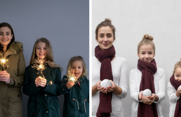 Mother Of Two Daughters Takes Adorable Photos Wearing
