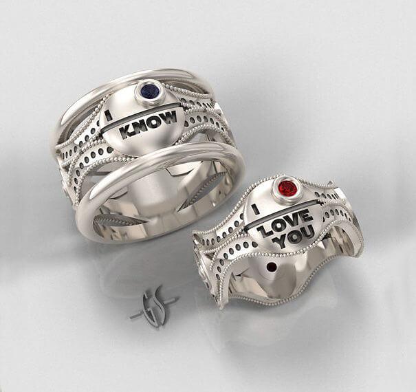 silver star wars ring set - R2d2 Wedding Ring