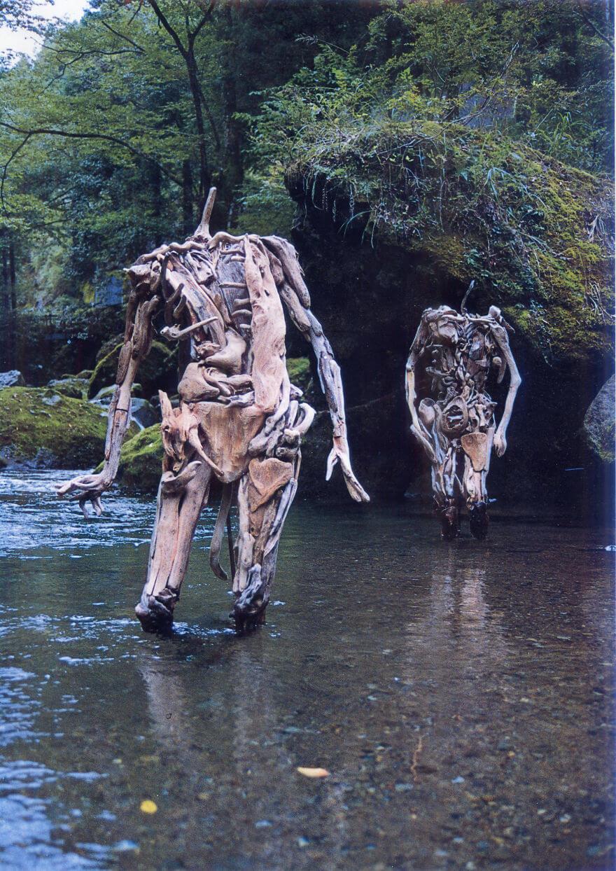 Nagato Iwasaki driftwood sculptures 5 (1)