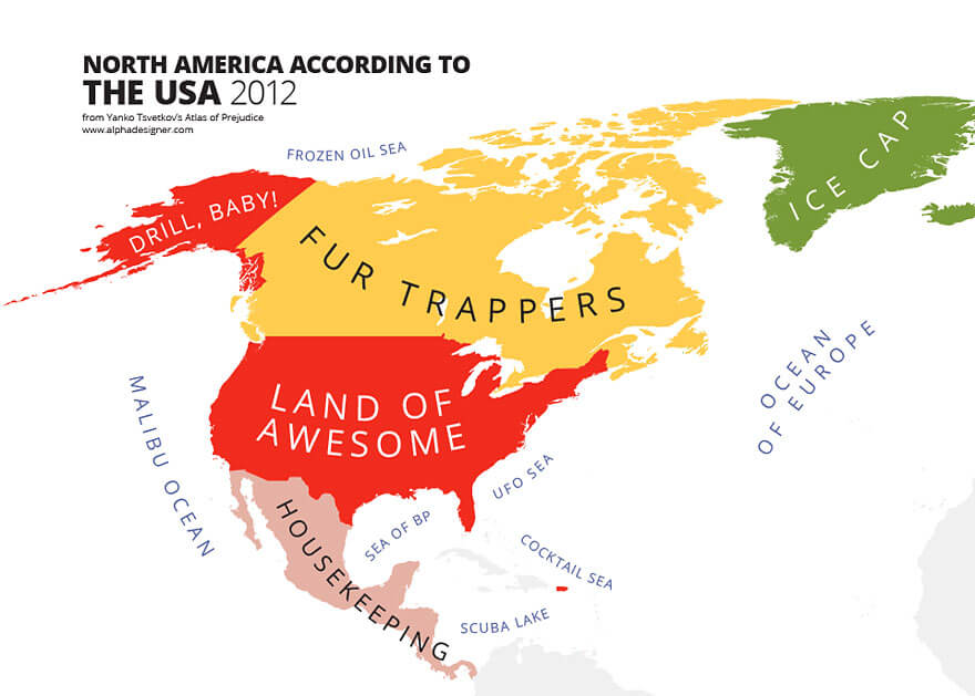 Funny Maps Of National Stereotypes And How People View The World - Rap of the map of the us