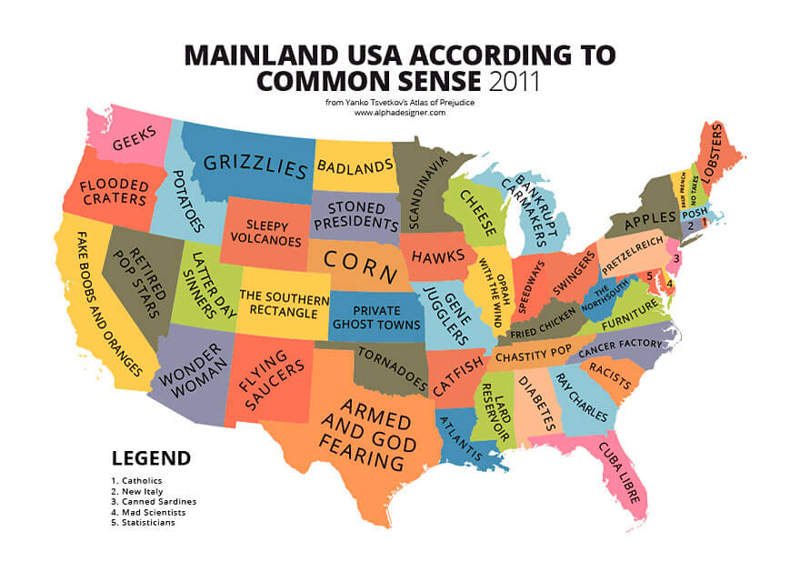 How America Sees The World Map.31 Funny Maps Of National Stereotypes And How People View The World