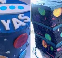 space themed cake feat