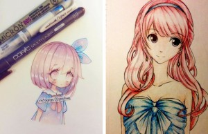 anime drawings feat