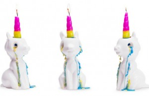 crying unicorn candle feat