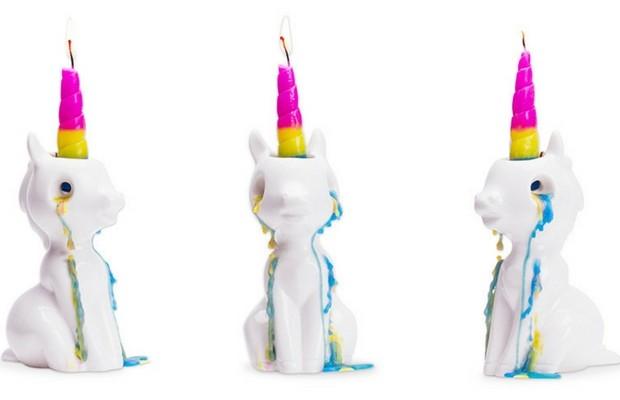 crying unicorn candle feat