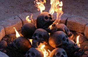 skull fire pit logs feat