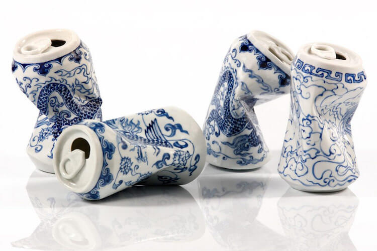 lei xue smashed cans porcelain sculptures (1)
