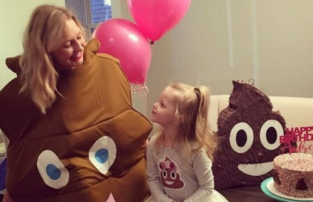 little girl poop theme birthday party feat