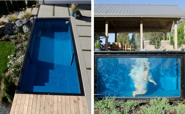 this shipping container pool is the coolest new trend if. Black Bedroom Furniture Sets. Home Design Ideas