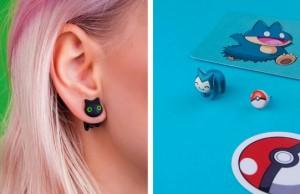 cat earrings feat
